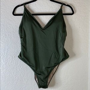 PAC sun olive green one piece bathing suit